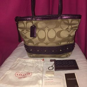 Matching Coach Purple/Tan Purse and Wallet